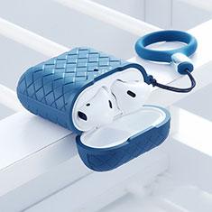 Silikon Hülle Schutzhülle Skin mit Karabiner für AirPods Ladekoffer C04 Blau