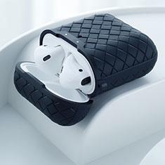 Silikon Hülle Schutzhülle Skin mit Karabiner für AirPods Ladekoffer C04 Schwarz