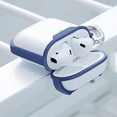Silikon Hülle Schutzhülle Skin mit Karabiner für AirPods Ladekoffer C05 Blau