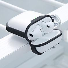 Silikon Hülle Schutzhülle Skin mit Karabiner für AirPods Ladekoffer C05 Schwarz