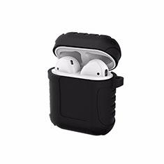 Silikon Hülle Schutzhülle Skin mit Karabiner für AirPods Ladekoffer C06 Schwarz