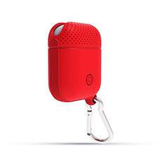 Silikon Hülle Schutzhülle Skin mit Karabiner für AirPods Ladekoffer C08 Rot