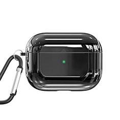 Silikon Hülle Schutzhülle Skin mit Karabiner für AirPods Pro Ladekoffer C01 Schwarz