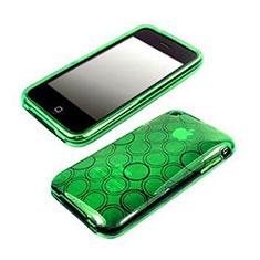 Silikon Hülle Transparent Schutzhülle Kreis für Apple iPhone 3G 3GS Grün