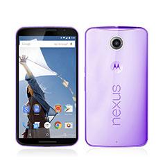 Silikon Hülle Ultra Dünn Schutzhülle Durchsichtig Transparent für Google Nexus 6 Violett