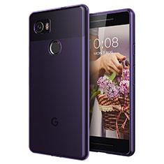 Silikon Hülle Ultra Dünn Schutzhülle Durchsichtig Transparent für Google Pixel 2 XL Violett