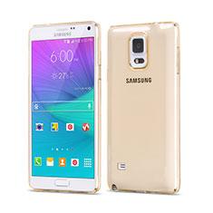 Silikon Hülle Ultra Dünn Schutzhülle Durchsichtig Transparent für Samsung Galaxy Note 4 Duos N9100 Dual SIM Gold