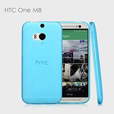 Silikon Hülle Ultra Dünn Schutzhülle Durchsichtig Transparent T01 für HTC One M8 Hellblau