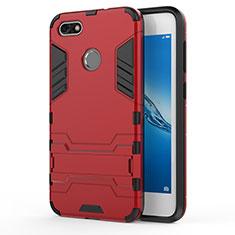 Silikon Hülle und Kunststoff Schutzhülle mit Ständer für Huawei Y6 Pro (2017) Rot