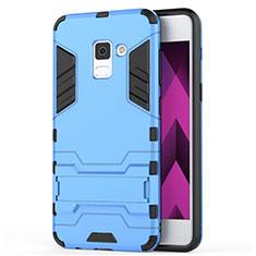 Silikon Hülle und Kunststoff Schutzhülle mit Ständer für Samsung Galaxy A5 (2018) A530F Blau
