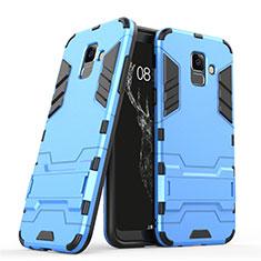 Silikon Hülle und Kunststoff Schutzhülle mit Ständer für Samsung Galaxy A6 (2018) Blau