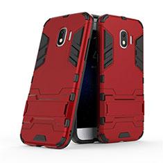 Silikon Hülle und Kunststoff Schutzhülle mit Ständer für Samsung Galaxy J2 Pro (2018) J250F Rot