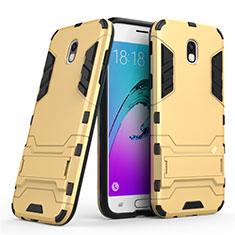 Silikon Hülle und Kunststoff Schutzhülle mit Ständer für Samsung Galaxy J5 (2017) SM-J750F Gold