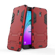 Silikon Hülle und Kunststoff Schutzhülle mit Ständer für Samsung Galaxy J7 (2018) J737 Rot