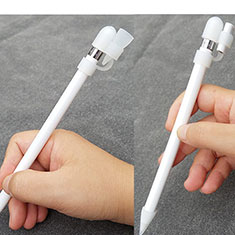 Silikon Kappenhalter Bleistift Nib Hülle Kabeladapter Tether-Kits Anti-Verloren P02 für Apple Pencil Weiß