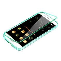 Silikon Schutzhülle Flip Tasche Durchsichtig Transparent für Huawei G8 Grün