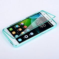 Silikon Schutzhülle Flip Tasche Durchsichtig Transparent für Huawei Honor 4C Hellblau