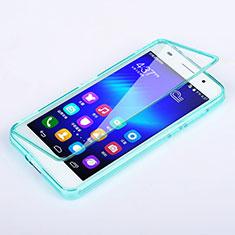 Silikon Schutzhülle Flip Tasche Durchsichtig Transparent für Huawei Honor 6 Hellblau