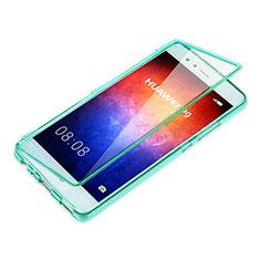 Silikon Schutzhülle Flip Tasche Durchsichtig Transparent für Huawei P9 Plus Hellblau