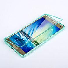 Silikon Schutzhülle Flip Tasche Durchsichtig Transparent für Samsung Galaxy A7 SM-A700 Hellblau