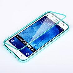 Silikon Schutzhülle Flip Tasche Durchsichtig Transparent für Samsung Galaxy J5 SM-J500F Hellblau