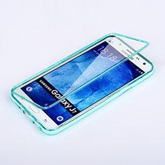 Silikon Schutzhülle Flip Tasche Durchsichtig Transparent für Samsung Galaxy J7 SM-J700F J700H Hellblau