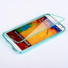 Silikon Schutzhülle Flip Tasche Durchsichtig Transparent für Samsung Galaxy Note 3 N9000 Hellblau