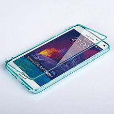 Silikon Schutzhülle Flip Tasche Durchsichtig Transparent für Samsung Galaxy Note 4 Duos N9100 Dual SIM Hellblau