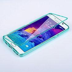 Silikon Schutzhülle Flip Tasche Durchsichtig Transparent für Samsung Galaxy Note 5 N9200 N920 N920F Hellblau