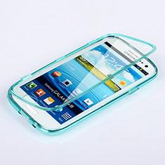Silikon Schutzhülle Flip Tasche Durchsichtig Transparent für Samsung Galaxy S3 III i9305 Neo Hellblau