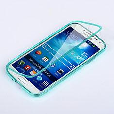 Silikon Schutzhülle Flip Tasche Durchsichtig Transparent für Samsung Galaxy S4 i9500 i9505 Hellblau