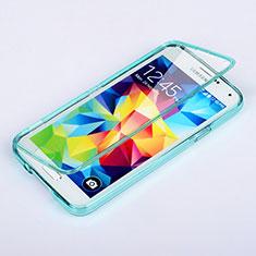 Silikon Schutzhülle Flip Tasche Durchsichtig Transparent für Samsung Galaxy S5 G900F G903F Hellblau