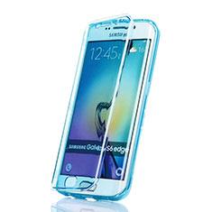 Silikon Schutzhülle Flip Tasche Durchsichtig Transparent für Samsung Galaxy S6 Edge SM-G925 Blau