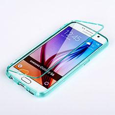 Silikon Schutzhülle Flip Tasche Durchsichtig Transparent für Samsung Galaxy S6 SM-G920 Hellblau