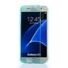 Silikon Schutzhülle Flip Tasche Durchsichtig Transparent für Samsung Galaxy S7 G930F G930FD Hellblau