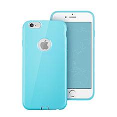 Silikon Schutzhülle Gummi Tasche Loch für Apple iPhone 6 Hellblau