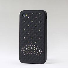 Silikon Schutzhülle Gummi Tasche Strass Diamant für Apple iPhone 4 Schwarz
