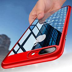 Silikon Schutzhülle Rahmen Tasche Durchsichtig Transparent B01 für Apple iPhone 8 Plus Rot