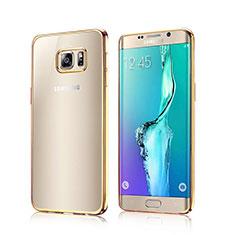 Silikon Schutzhülle Rahmen Tasche Durchsichtig Transparent für Samsung Galaxy S6 Edge SM-G925 Gold