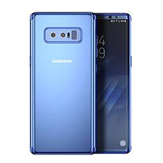Silikon Schutzhülle Rahmen Tasche Durchsichtig Transparent Matt R02 für Samsung Galaxy Note 8 Duos N950F Blau
