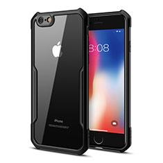 Silikon Schutzhülle Rahmen Tasche Hülle Durchsichtig Transparent Spiegel für Apple iPhone 6S Plus Schwarz