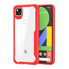 Silikon Schutzhülle Rahmen Tasche Hülle Durchsichtig Transparent Spiegel für Google Pixel 4a Rot