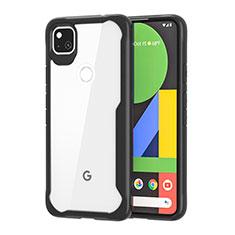 Silikon Schutzhülle Rahmen Tasche Hülle Durchsichtig Transparent Spiegel für Google Pixel 4a Schwarz