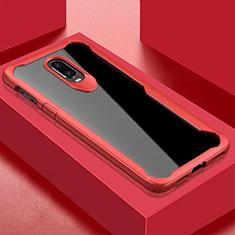Silikon Schutzhülle Rahmen Tasche Hülle Durchsichtig Transparent Spiegel für OnePlus 6T Rot