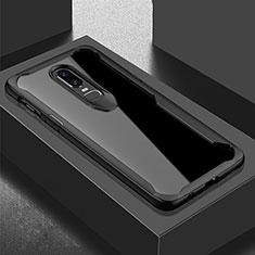 Silikon Schutzhülle Rahmen Tasche Hülle Durchsichtig Transparent Spiegel für OnePlus 6T Schwarz