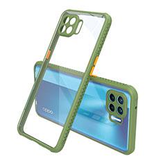 Silikon Schutzhülle Rahmen Tasche Hülle Durchsichtig Transparent Spiegel für Oppo Reno4 F Grün