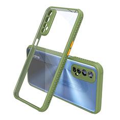 Silikon Schutzhülle Rahmen Tasche Hülle Durchsichtig Transparent Spiegel für Realme 7 Grün