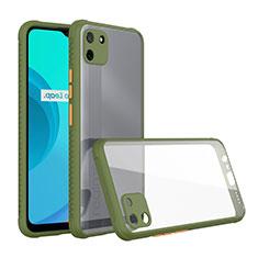 Silikon Schutzhülle Rahmen Tasche Hülle Durchsichtig Transparent Spiegel für Realme C11 Grün
