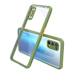 Silikon Schutzhülle Rahmen Tasche Hülle Durchsichtig Transparent Spiegel für Realme X7 Pro 5G Grün