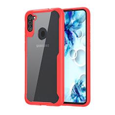 Silikon Schutzhülle Rahmen Tasche Hülle Durchsichtig Transparent Spiegel für Samsung Galaxy A11 Rot
